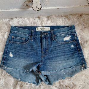 A&F Medium Wash Denim High Rise Shorts